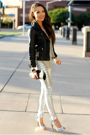 silver sam edelman heels - black Choies jacket - white Dailylook pants