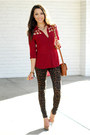 Dark-brown-nasty-gal-jeans-ruby-red-pink-ice-top