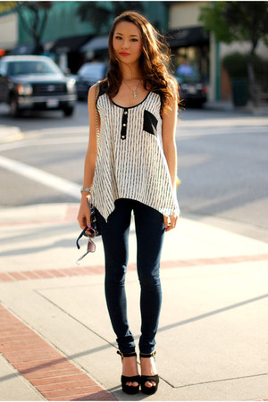 white Minted Republic top - navy Forever 21 leggings - black Steve Madden heels