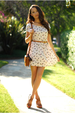 brown romwe bag - cream Sheinside dress - brown OASAP belt - brown Aldo heels