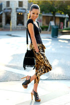 black Nasty Gal bag - brown shopakira pants - black Dailylook heels