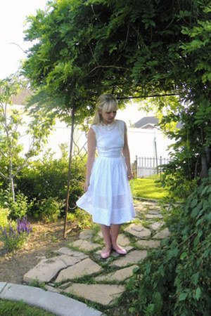 white eyelette Home made dress - bubble gum cotton on flats