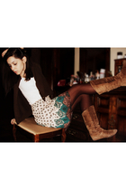 beige Pepper boots - brown stockings - white t-shirt - brown JCrew cardigan - bl
