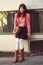 Red-vintage-blouse-black-bdg-skirt-white-tights-brown-vintage-purse-brow