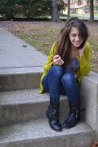 Old Navy cardigan - biker Target boots - delias jeans - striped H&M top