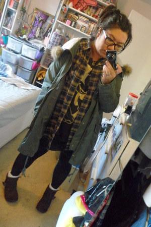 army green asos coat - mustard Primark shirt - black H&M t-shirt - dark brown Ro