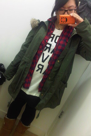 army green asos coat - red Primark shirt - white Uniqlo t-shirt - navy new look