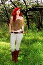 Brown-leather-boots-dark-brown-leather-belt-brown-corset-diy-top