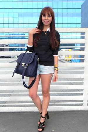 WHITE CALF bag - Topshop shorts - Topshop heels - Lucky Brand blouse