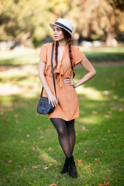 black suede Nine Weset boots - light orange bow thrifted from Crossroads dress