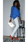 White-online-frankie-b-jeans-blue-thrifted-drapey-thrifted-vintage-blouse