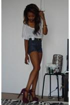 becomming Steve Madden pumps - Earnest Sewn shorts - scoop f21 basic t-shirt