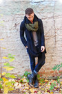 Black-thrifted-vintage-boots-navy-slim-fit-diesel-jeans