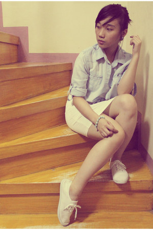 white Sports shoes - white simple dress - sky blue denim blush shirt