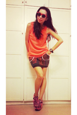 ethnic knitting skirt - neon orange net vest