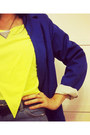 Blue-blazer-blazer-neon-platforms-shoes-ombre-shorts-shorts-t-shirt