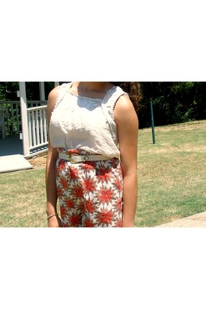 papaya shirt - vintage purse - thrifted vintage belt - Geoffrey Beene skirt - ra
