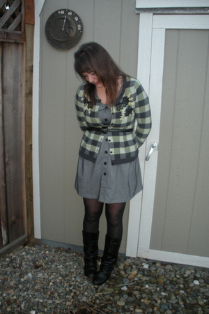 silver modcloth dress - green Anthropologie sweater - black thrifted boots - bla