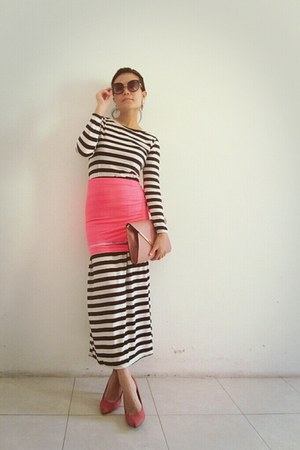 hot pink skirt - white stripes maxi random dress