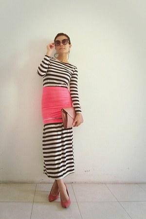 hot pink skirt - white stripes maxi random dress