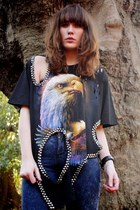 Handmade Eagle Unisex Ts,Decorated With Large Sparkling Bead