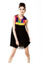 Black Spring Summer Chiffon Dress With Contrasting cClours