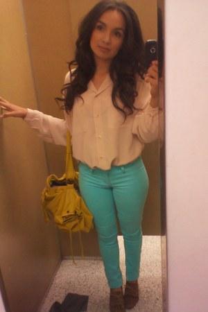 aqua pants - shoes - mustard bag - blouse