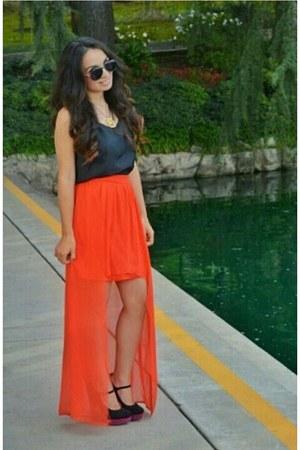 carrot orange thrifted skirt