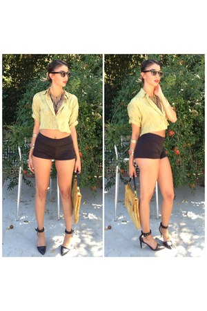 mustard Thrift Store bag - black Forever 21 shorts - black Charles Jourdan heels
