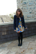 yellow Forever 21 dress - blue Club Monaco blazer - black HUE tights