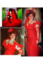 red lace gown second hand me down vintage dress