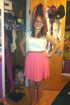 Forever 21 blouse - silky tank top thrifted shirt - pink skirt Macys skirt