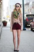 maroon Choies shorts - black Boohoo heels