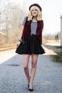 Ruby-red-thrifted-vest-black-nasty-gal-skirt