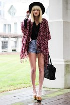 magenta shawl BCBG cardigan - light blue denim DIY shorts