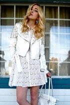 white leather biker Akira Chicago jacket - white lace dress BCB dress