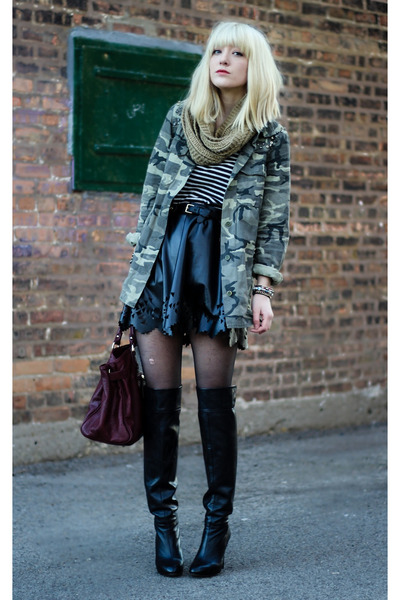 olive green Zara jacket - black Zara boots - black Akira skirt