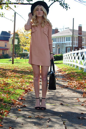 black satchel coach bag - pink fall looks Topshop dress - black mint hat