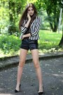 White-bershka-blazer-black-leather-bershka-shorts-black-zara-heels