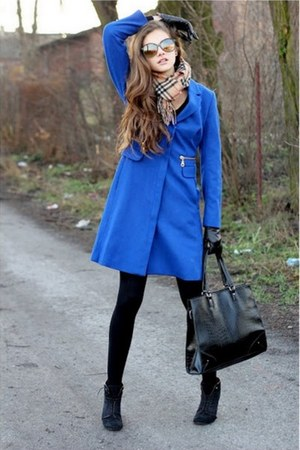 blue H&M coat - black H&M tights - tan Burberry scarf - black Mango bag