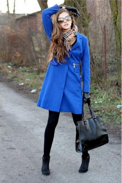 blue H&M coat - black H&M tights - tan Burberry scarf - black Mango bag