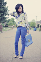 blue Forever21 jeans - turquoise blue Zara blouse - black Jimmy Choo sandals
