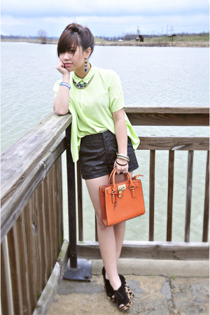lime green Diane Von Furstenburg blouse - orange Mellie Bianco bag