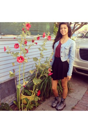 floral Doc Marten boots - denim jacket - skirt - H&M top