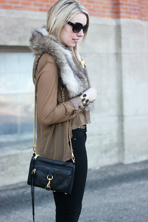 tan Sheinside blouse - neutral fur H&amp;M scarf - black Rebecca Minkoff bag