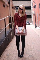 light pink Joe Fresh skirt - gray H&M bag - maroon Mink Pink blouse