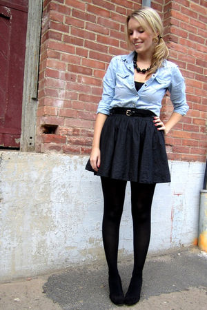 black Lush skirt - blue American Eagle blouse - black le chateau shoes - black l