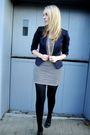 Blue-h-m-blazer-white-everly-dress-black-forever21-shoes