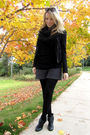 Gray-h-m-shorts-black-h-m-tights-black-h-m-scarf-black-h-m-jacket-black-