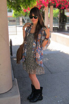 sky blue floral kimono Oxford Circus jacket - dark gray babydoll Target dress